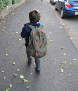 big bag, little boy: leo on his first day of school