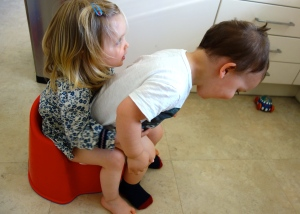 warning: this is NOT how to potty-train twins